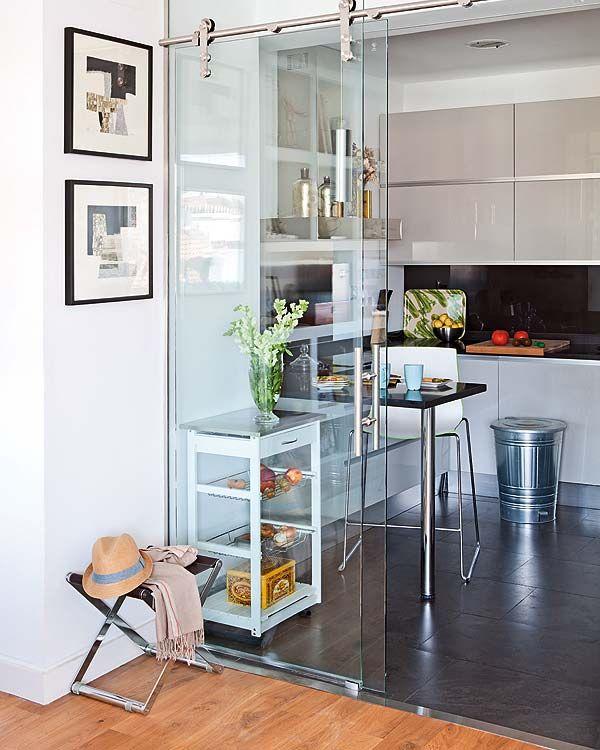 Entry way glass harbor all glass mirror inc - Puerta corredera cristal cocina ...